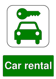 car rental public information sign